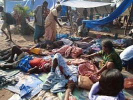 Last few months of the war. Civilians in between Kilinochi and  Mullaitivu, May 2009